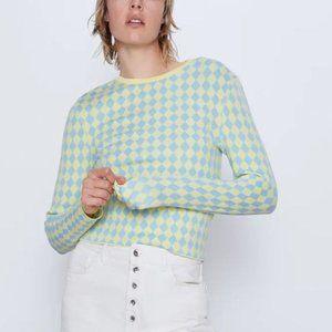 NWT Zara Diamond Harlequin Print Sweater TRF